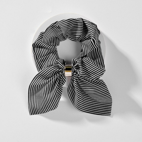 Short-Eared Striped Hair Scrunchie- Black