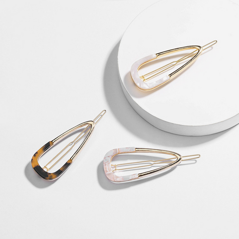 Teardrop Metal & Acrylic Barrette (1 Pc)