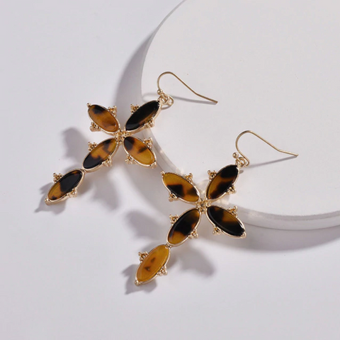 Tortoise Resin Gold Cross Earrings