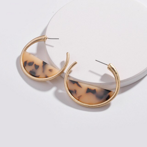 Tortoise Sliced Acrylic & Gold Hoop Earrings