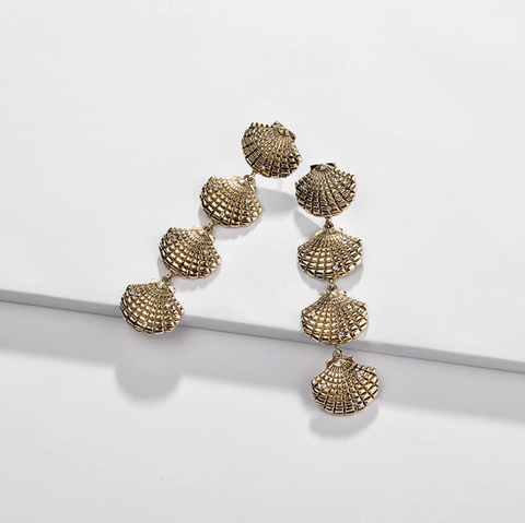 Vintage Gold Scallop Earrings