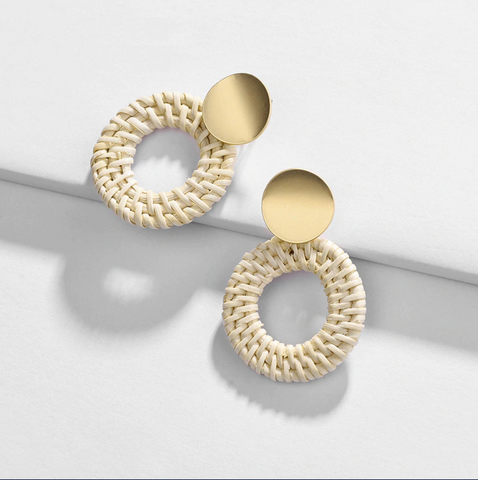 Woven & Gold Round Loop Earrings