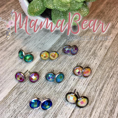 Colorful Facetted Studs