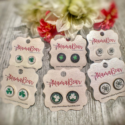 Clover Glass Studs ~ SALE
