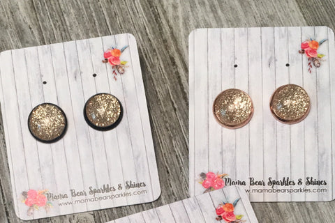 Glitter Rose Gold {All That Sparkles} Glass Studs