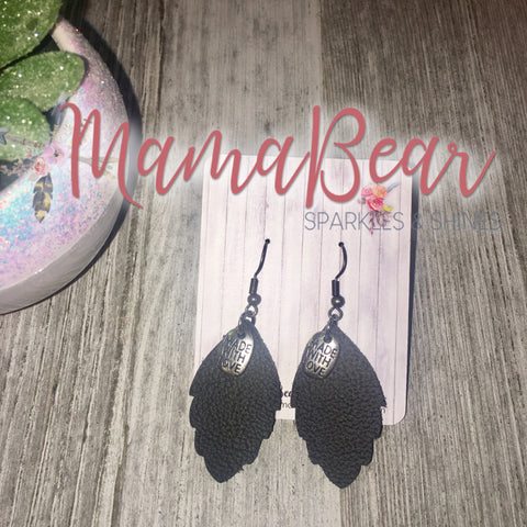 Made With Love ~ Charmed Black Genuine Leather Leaf ~ Small
