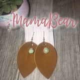 Charmed Pinch Leaf Faux Leather Dangles