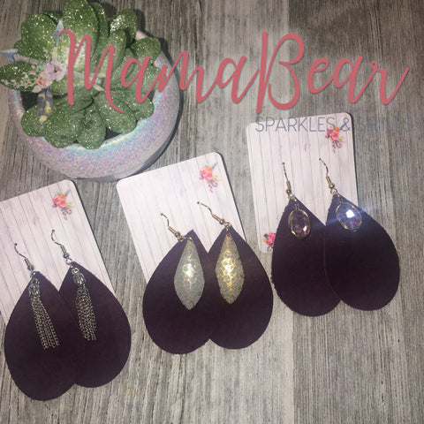 Plum Charmed Genuine Leather Dangles