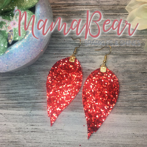 Red Glitter Wings Faux Leather Dangles