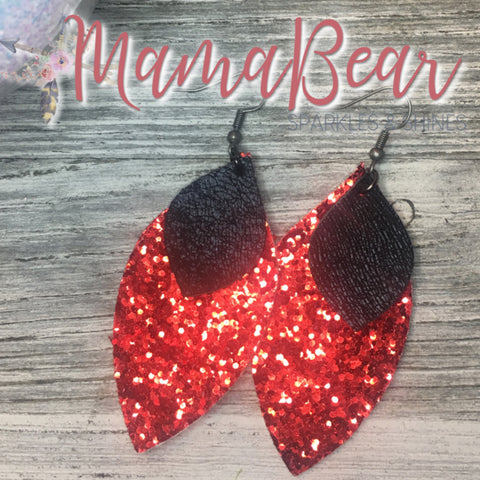 Red Glitter Dual Leaf Faux Leather Dangles