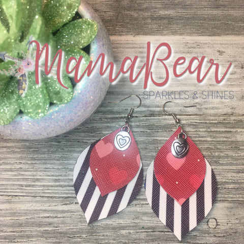 Charmed Striped Layers Faux Leather Dangles
