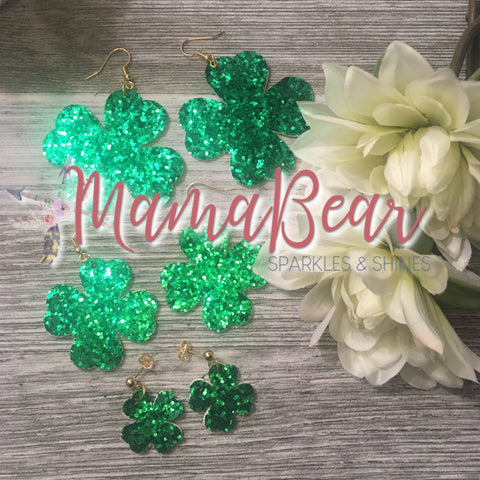 Shamrock Green Glitter Faux Leather Dangles