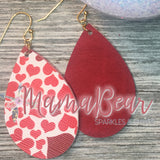 Red Floating Heart Faux Leather Teardrops
