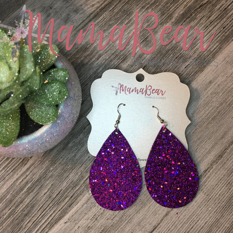 Violet Sequin Faux Leather Teardrop Dangles