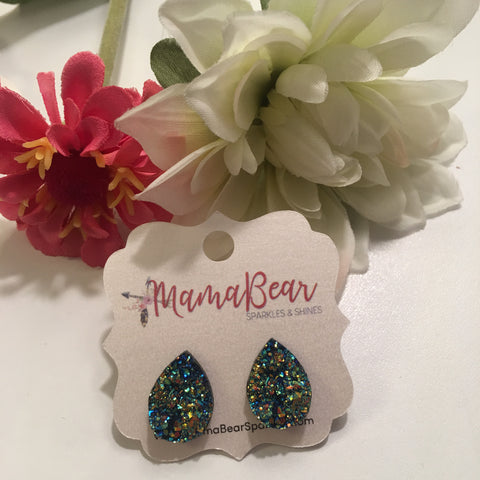 Golden Blue Druzy Teardrop Studs