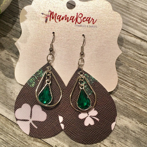 Charmed Green Clover Faux Leather Teardrops