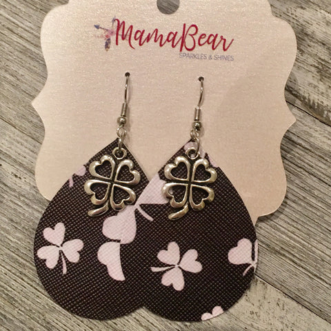Black'n White Clover Teardrop Faux Leather Dangles