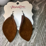 Brown Genuine Leather Pinch Leaf Dangles