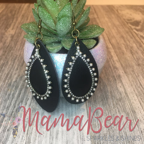 Pearled Black Genuine Leather Slender Teardrops