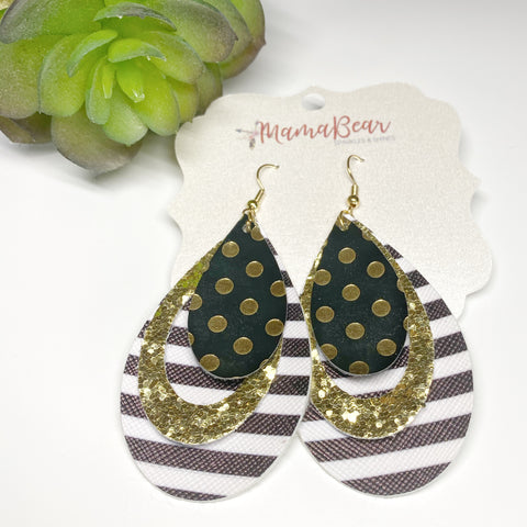 Glitter'n Gold Faux Leather Dangles