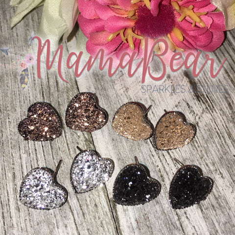 Princess Cut Heart Druzy Studs ~ Neutrals