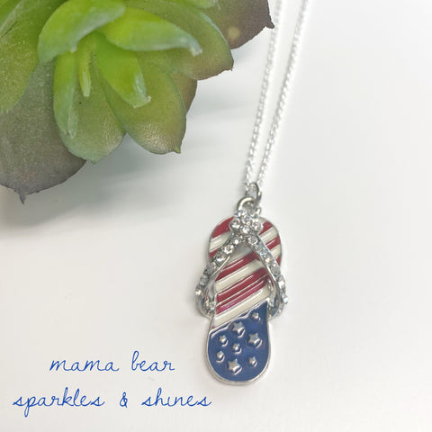 Patriotic Flipflop Pendant Necklace *new item