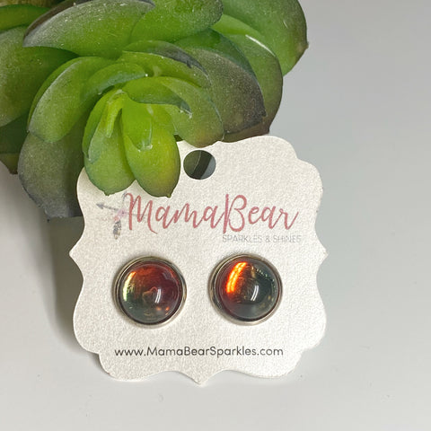 Red & Green Glass Studs