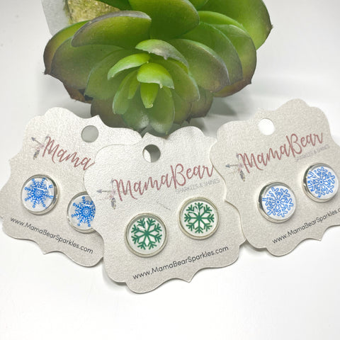 Snowflake Glass Studs ~ CUSTOM