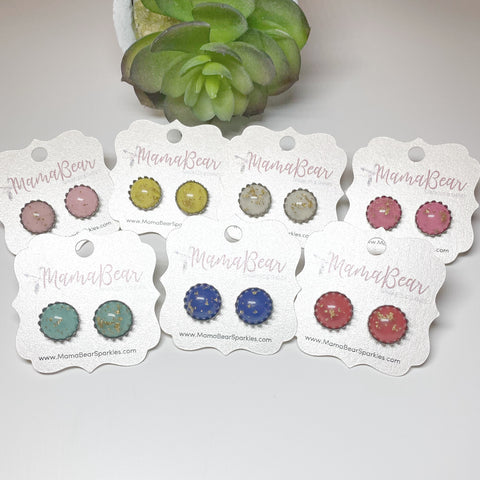 Colorful Glass {gold flakes} CROWN Studs *new item
