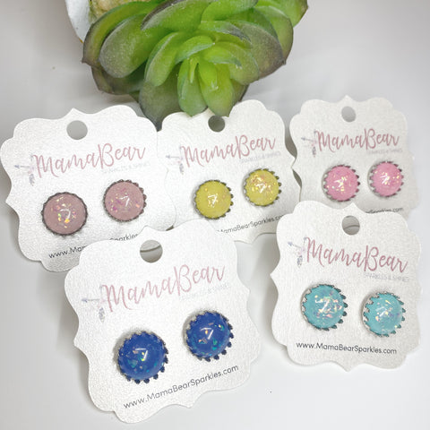 Colorful Glass {glitter flakes} CROWN Studs