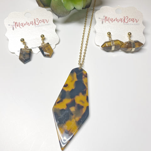 Tortoise Stone Pendant Earrings + Necklace *new item