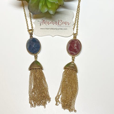 Genuine Stone & Gold Tassel Necklace