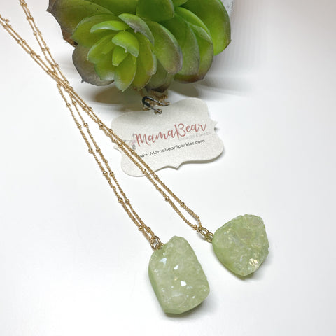 Druzy Olive Stone Necklace *new item