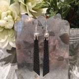 Princess Angled Bar Faux Leather Dangles