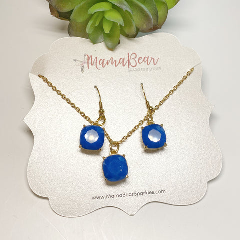 Royal Blue Stone Gold Earrings & Necklace Set *new item