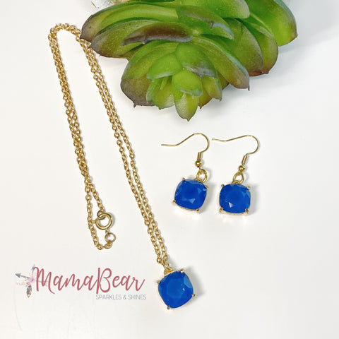 Royal Blue Stone Gold Earrings & Necklace Set