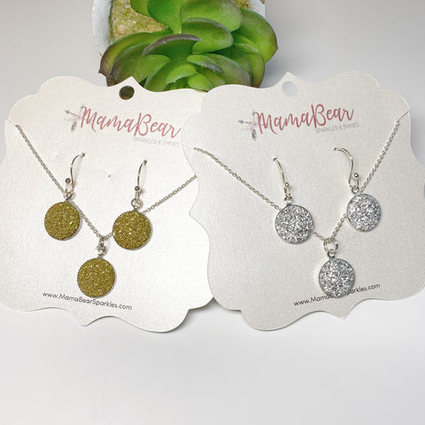 Druzy Dangle Earrings & Necklace Set