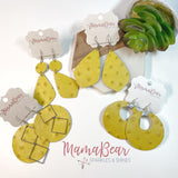 Yellow Ostrich Cowhide Dangles