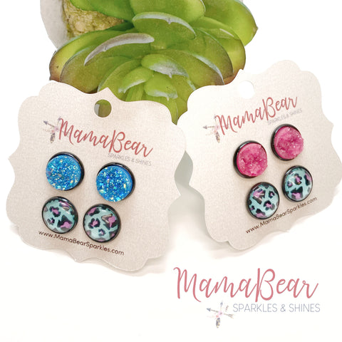 Druzy + Cheetah DUO Stud Sets *new item