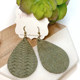 Army/Olive Green Braided Cowhide Teardrops