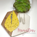 Yellow Ostrich Cowhide Necklace