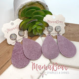 Druzy Pale Purple Suede Teardrops
