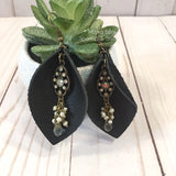 Vintage Charmed Genuine Leather Pinch Leaf Dangles