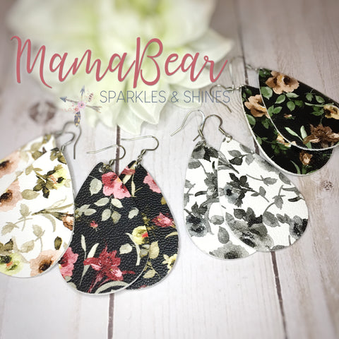 Floral Vegan Leather Dangles