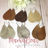 Shades of Brown Genuine Leather Teardrops