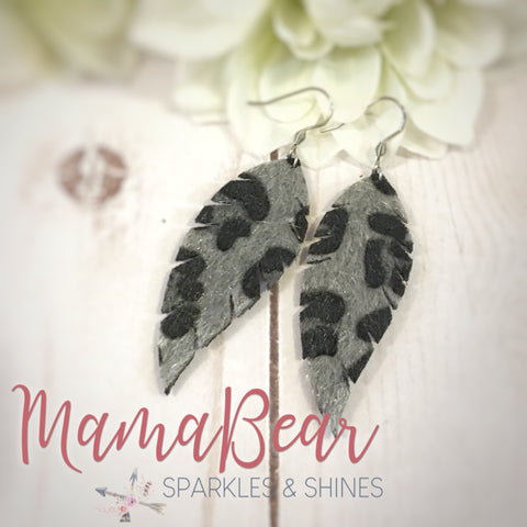 Silver Faux Feather Dangles
