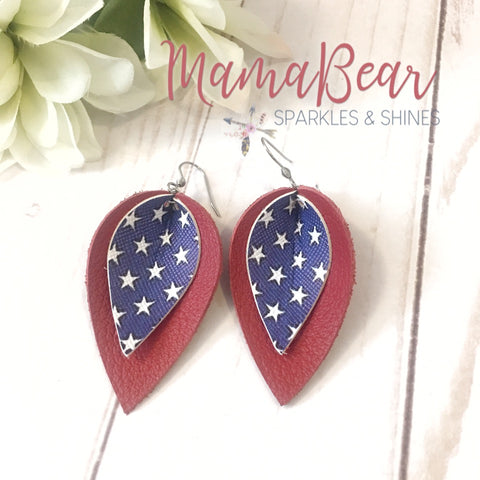 Patriotic Red & Stars Layered Pinch Leaf Dangles