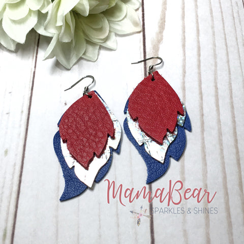 Patriotic Triple Layered Leaf Dangles