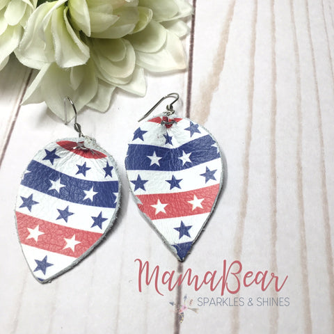 Stars & Stripes Patriotic Pinch Leaf Dangles