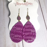 Gem Topped Braided Fishtail Cowhide Dangles